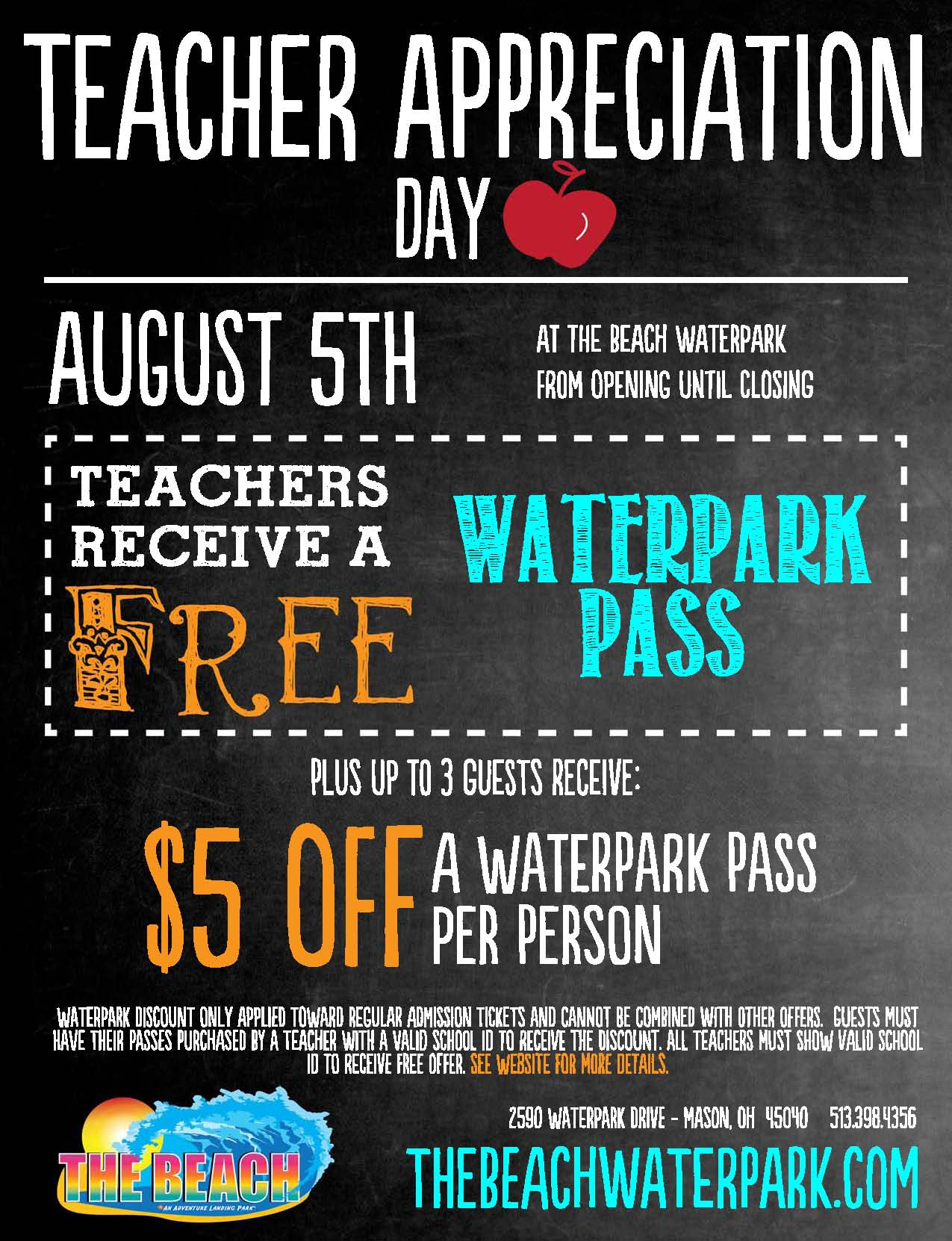 free waterpark admission for teachers with proof of id $ 5 off ...